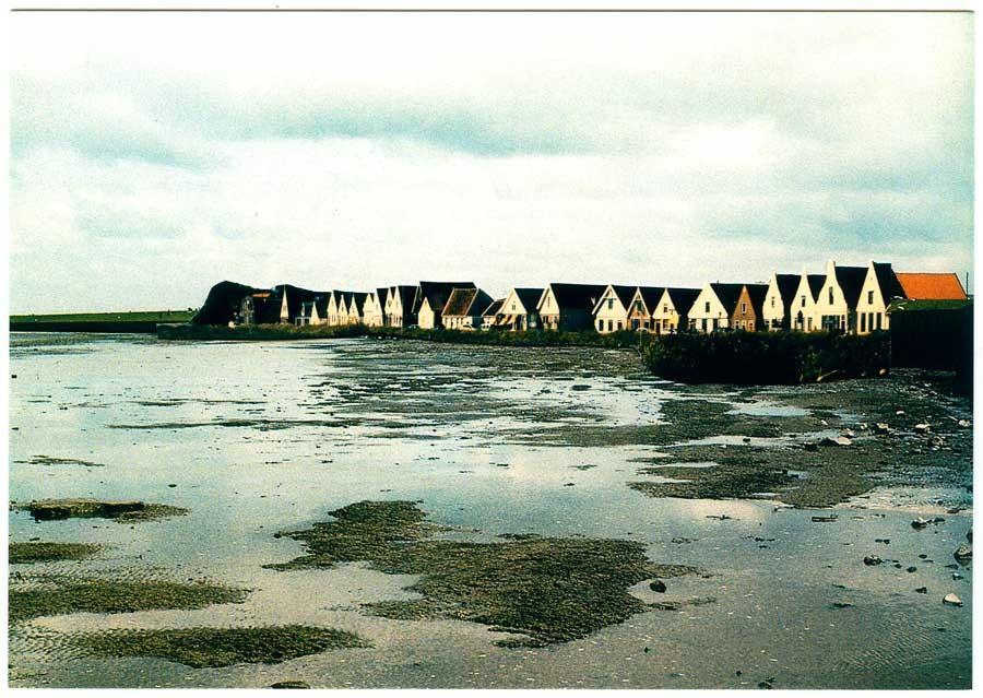 postcard Durgerdam laag water