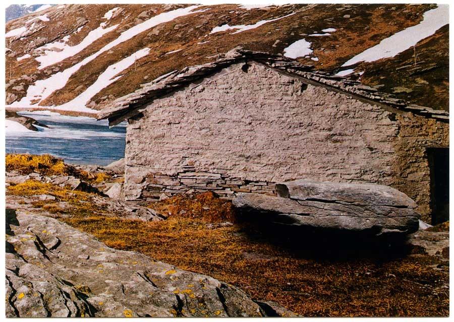 postcard swiss mountain shed